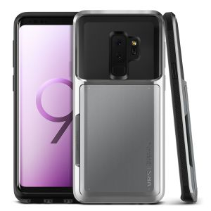 Protect your Samsung Galaxy S9 Plus with this precisely designed case in steel silver from VRS Design. Made with tough yet slim material, this hardshell construction with soft core features patented sliding technology to store two credit cards or ID.