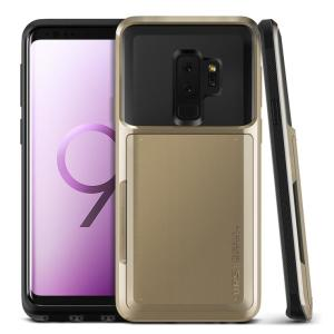 Protect your Samsung Galaxy S9 Plus with this precisely designed case in gold from VRS Design. Made with tough yet slim material, this hardshell construction with soft core features patented sliding technology to store two credit cards or ID.