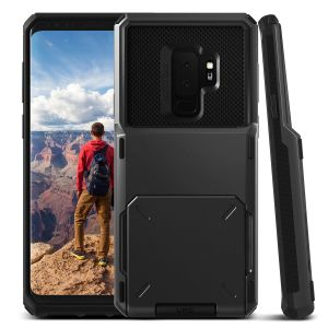 Protect your Samsung Galaxy S9 Plus with this precisely designed case in metal black from VRS Design. Made with tough yet slim material, this hardshell construction with soft core features patented flip technology to store credit cards or ID.
