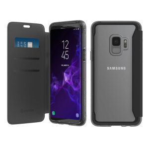 The Survivor Clear wallet case by Griffin houses your Galaxy S9 within a slim-fitting see-through back case and encloses it with a sophisticated black folio cover. It also features 3 slots for your debit and credit cards, cash, ID and more.