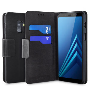 Protect your Samsung Galaxy A8 with this durable and stylish black leather-style wallet case by Olixar. What's more, this case transforms into a handy stand to view media.
