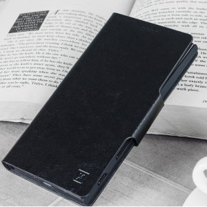 Protect your Samsung Galaxy A8 Plus with this durable and stylish black leather-style wallet case by Olixar. What's more, this case transforms into a handy stand to view media.
