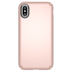 Meet the Speck Presidio Metallic - the shimmering metallic finish and a head turning design featuring tough case for iPhone X. Features enhanced drop protection, raised screen bezel and slim fitting form factor in Rose Gold color.