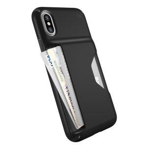La coque iPhone X Speck Presidio portefeuille offre une protection légère et robuste à votre iPhone X. Protectrice et polyvalente, elle comprend un compartiment dédié et breveté au rangement de votre carte bancaire. Laissez votre petite monnaie chez vous et ne prenez que l'essentiel pour vous déplacer léger.