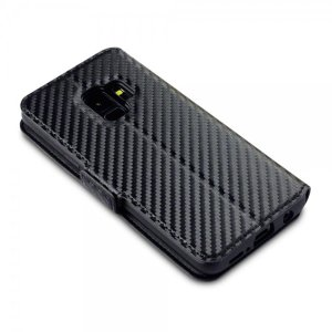 Protect your Samsung Galaxy S9 with this durable and stylish black carbon leather-style wallet case. What's more, this case transforms into a handy stand to view media, putting you in a comfortable position at all times.