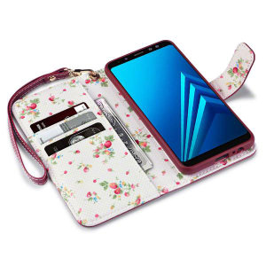 A sophisticated lightweight red floral leather-style wallet case from Encase. The Floral leather-style wallet case offers perfect protection for your Samsung Galaxy A8 2018, as well as featuring slots for your cards, cash and documents.