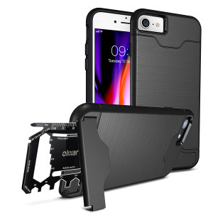 Prepare your iPhone 8 for the great outdoors with the rugged Olixar X-Ranger case in tactical black. With a handy kickstand and a secure compartment for the included multi-tool - or the card of your choice - you'll be ready for anything.