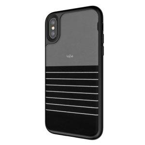 Die Resort Sammlung Streifenmuster in schwarz von Kajsa bieten attraktive gestreifte Außenseiten und einen exzellenten zusammengestellten Schutz für Ihr brandneues iPhone X, wenn Sie auf Reisen sind. Es enthält auch ein langlebiges, dennoch leichtes und schlank-aussehendes Design.