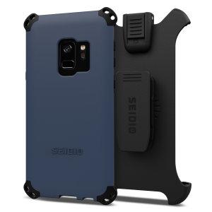 Schützen Sie Ihr Samsung Galaxy S9 mit dieser mitternachtsblauen und schwarzen Dilex Combo Hülle von Seidio. Diese Hülle bietet einen Stoß-absorbierenden Schutz mit zwei verzahnten Schichten und enthält einen Bildschirmschutz-Gürtelklipp Halter.
