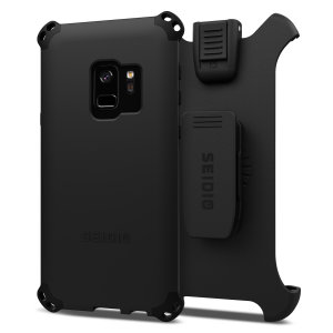 Protect your Samsung Galaxy S9 with this black Dilex Combo Case from Seidio. This case provides a shock absorbing protection with two interlocking layers and includes a screen protecting belt-clip holster.