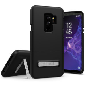 A sleek and slimline soft-touch black case for your shiny new Samsung Galaxy S9 Plus. Offering superb protection, minimal bulk and an integrated kickstand for viewing your favourite pictures or videos.