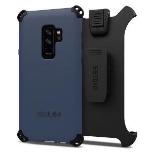 Schützen Sie Ihr Samsung Galaxy S9 Plus mit dieser mitternachtsblauen und schwarzen Dilex Combo Hülle von Seidio. Diese Hülle bietet einen Stoß-absorbierenden Schutz mit zwei verzahnten Schichten und enthält einen Bildschirmschutz-Gürtelklipp Halter.