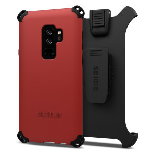 Protect your Samsung Galaxy S9 Plus with this dark red and black Dilex Combo Case from Seidio. This case provides a shock absorbing protection with two interlocking layers and includes a screen-protecting belt-clip holster.