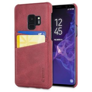 Krusell's 2 Card Sunne Wallet cover in vintage red combines Nordic chic with Krusell's values of sustainable manufacturing for the socially-aware Galaxy S9 owner who wants an elegant genuine leather accessory with extra storage for cash and cards.
