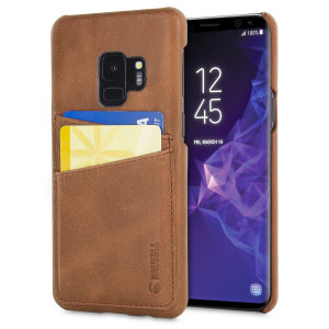 Krusell's 2 Card Sunne Wallet cover in vintage cognac combines Nordic chic with Krusell's values of sustainable manufacturing for the socially-aware Galaxy S9 owner who wants an elegant genuine leather accessory with extra storage for cash and cards.