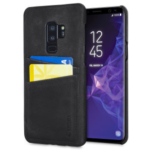 The Sunne Leather Case from Krusell in vintage black offers a classy look for your Samsung Galaxy S9 Plus. With 2 card slots on the back, you can replace your bulky wallet with this elegant and functional genuine leather case.