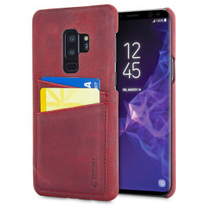 Krusell's 2 Card Sunne Wallet cover in vintage red combines Nordic chic with Krusell's values of sustainable manufacturing for the socially-aware Galaxy S9 Plus owner who wants an elegant genuine leather accessory with extra storage for cash and cards.