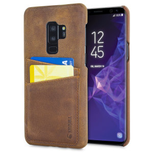 The Sunne Leather Case from Krusell in vintage cognac offers a classy look for your Samsung Galaxy S9 Plus. With 2 card slots on the back, you can replace your bulky wallet with this elegant and functional genuine leather case.