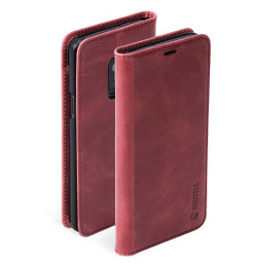 Krusell's 2 Card Sunne Folio Wallet genuine leather case in vintage red combines Nordic chic with Krusell's values of sustainable manufacturing for the socially-aware Galaxy S9 owner who seeks 360° protection with extra storage for cash and cards.