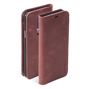 Krusell's 2 Card Sunne Folio Wallet leather case in vintage red combines Nordic chic with Krusell's values of sustainable manufacturing for the socially-aware Galaxy S9 Plus owner who seeks 360° protection with extra storage for cash and cards.