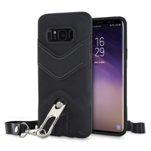 Protect your Samsung Galaxy S8 from bumps and scrapes with this black LanYard case from Olixar. The case comes with a built-in 360 degree stand and a quickly removable lanyard, which you can use to securely 'wear' your Galaxy S8 around your neck.