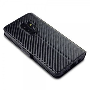 Protect your Samsung Galaxy S9 Plus with this durable and stylish black carbon leather-style wallet case. What's more, this case transforms into a handy stand to view media, putting you in a comfortable position at all times.