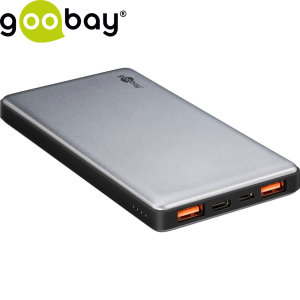 Never let your smartphone battery die again with this Goobay 10,000mAh power bank. Featuring 2 USB ports and 1 USB-C port, this portable battery rapidly charges multiple devices at once with Qualcomm 3.0 support.