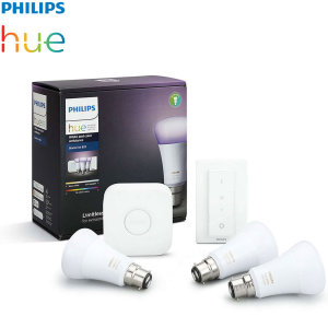 Turn your home smart with this Philips Hue colour and white Wireless starter kit. This kit includes everything you need to easily set up your smart wireless lighting experience including B22 LED colour bulbs, Hue Bridge 2.0 and a Hue dimmer switch.