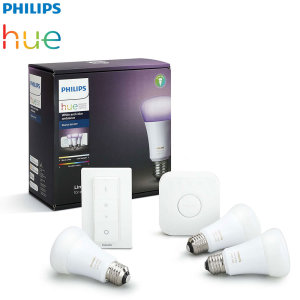 Turn your home smart with this Philips Hue colour and white Wireless starter kit. This kit includes everything you need to easily set up your smart wireless lighting experience including E27 LED colour bulbs, Hue Bridge 2.0 and a Hue dimmer switch.