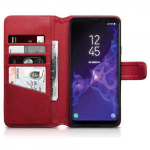 The red genuine leather wallet case from Olixar offers perfect protection for your Samsung Galaxy S9 Plus. Featuring premium stitch finishing as well as featuring slots for your cards, cash and documents.