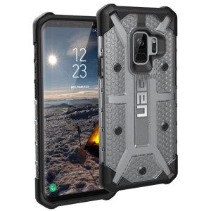 Urban Armour Gear till Samsung Galaxy S9 har ett skyddande TPU-skal med en borstad UAG-logotyp i metall för en fantastisk design.
