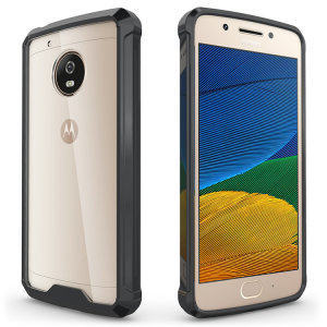 Custom moulded for the Moto G5. This black and clear tough snap-on case provides a slim fitting stylish design and reinforced corner shock protection against damage, keeping your device looking great at all times.