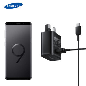 A genuine Samsung UK adaptive fast mains charger for your USB-C Samsung Galaxy S9 phone.  With folding pins for travel convenience and a genuine Samsung USB-C charging cable.