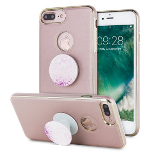 Custom moulded for the iPhone 7 Plus, this rose gold Makamae case provides a premium look, while adding excellent protection against damage and also includes an attachable PopSocket hand grip for extra peace of mind and media viewing stand.