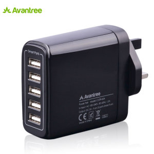 Ideal for use by your desk, bedside or whilst on your travels, this Avantree mains charger in black includes 5 USB smart ports totalling an impressive 9.6 Amps output for recharging your smartphone or even power hungry tablet devices quickly.