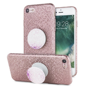 Enhance and protect your iPhone 7 with this rose gold case with original PopSocket attachable hand grip and stand. Your iPhone fits perfectly into the secure case while a shimmering chequered mosaic adorns the back, adding a touch of class to your phone.