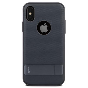 Protect your iPhone X with this ultra slim, stylish and durable case in midnight blue, which protects as well as providing a stunning full body protection in an attractive dual design. The case also features a fold-out kickstand for easy media viewing.