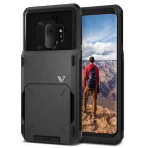 A limited VRS V-Pro products' range focuses on quality and aesthetics. Made with tough yet slim material, this hardshell construction with sand-stone and soft touch materials features a patented flip technology to store credit cards or ID.