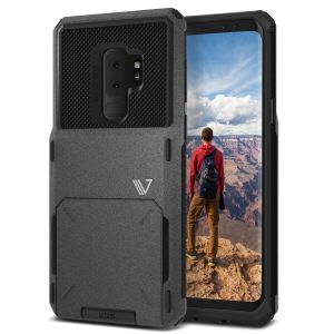 A limited VRS V-Pro products' range focuses on quality and aesthetics. Made with tough yet slim material, this S9 Plus hard shell construction with sand-stone and soft touch materials features a patented flip technology to store credit cards or ID.