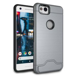 The Armour Kickstand case in grey provides your Google Pixel 2 with fantastic protection. Also featuring a storage slot for your credit card or ID.