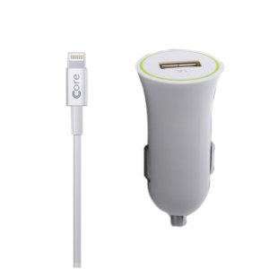 Core iPhone Car Charger with Lightning Cable - White