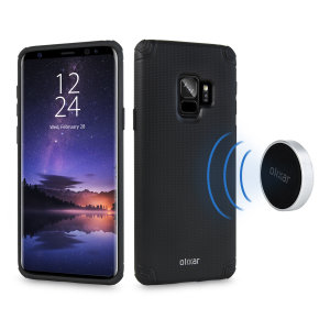 This attractive black mesh Samsung Galaxy S9 case from Olixar provides a perfect fit, superior grip and protection against scratches, knocks and drops. The case comes bundled with two metal plates and a magnetic holder for an easy and convenient mounting.
