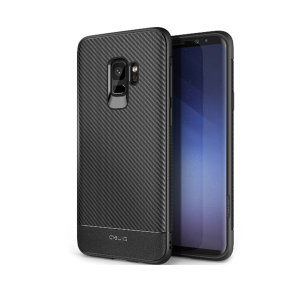 The Obliq Flex Pro Shell Case in carbon black is a stylish and ergonomic protective case for the Samsung Galaxy S9, providing impact absorption and fantastic grip due to its textured surface design.