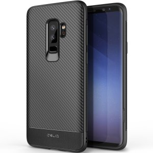 The Obliq Flex Pro Shell Case in carbon black is a stylish and ergonomic protective case for the Samsung Galaxy S9 Plus, providing impact absorption and fantastic grip due to its textured surface design.
