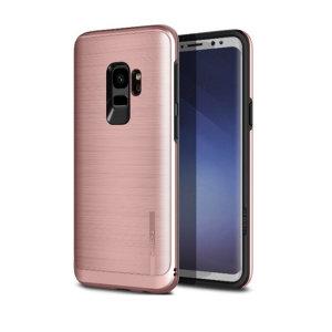 Schützen Sie Ihr Samsung Galaxy S9 mit diesem ultra slim Kettenhemd-Stil-Fall in Roségold, die neben der Bereitstellung von eines atemberaubenden Ganzkörper-Schutzes in einem attraktiven dual Design schützt.