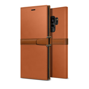 The Z2 Slim Wallet Case in orange and brown for the Samsung Galaxy S9 comes complete with card slots and is made with luxurious leather-style materials for a classic, prestige and professional look at all times.