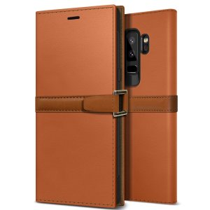 The Z2 Slim Wallet Case in orange and brown for the Samsung Galaxy S9 Plus comes complete with card slots and is made with luxurious leather-style materials for a classic, prestige and professional look at all times.