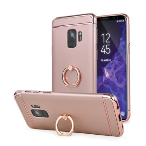 Custom made for the Samsung Galaxy S9, this rose gold XRing case from Olixar provides excellent protection and a handy finger loop to keep your phone in your hand, whether from accidental drops or attempted theft.