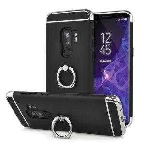 Maß für das Samsung Galaxy S9 Plus, diese rose gold X-Ring-Fall von Olixar bietet ausgezeichneten Schutz und eine handliche Finger-Schleife, um Ihr Telefon in der Hand, sei es durch versehentliches zu halten fällt oder versuchten Diebstahl