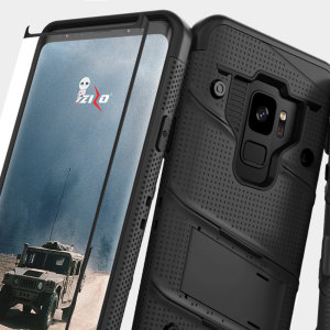 Equip your Samsung Galaxy S9 with military grade protection and superb functionality with the ultra-rugged Bolt case in black from Zizo. Coming complete with a tempered glass screen protector and a handy belt clip / kickstand.
